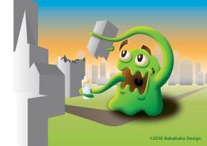 een illustratie van een vrolijk groen monster dat met één tentakel een flatgebouw afbreekt en een babyfles vasthoudt in de andere