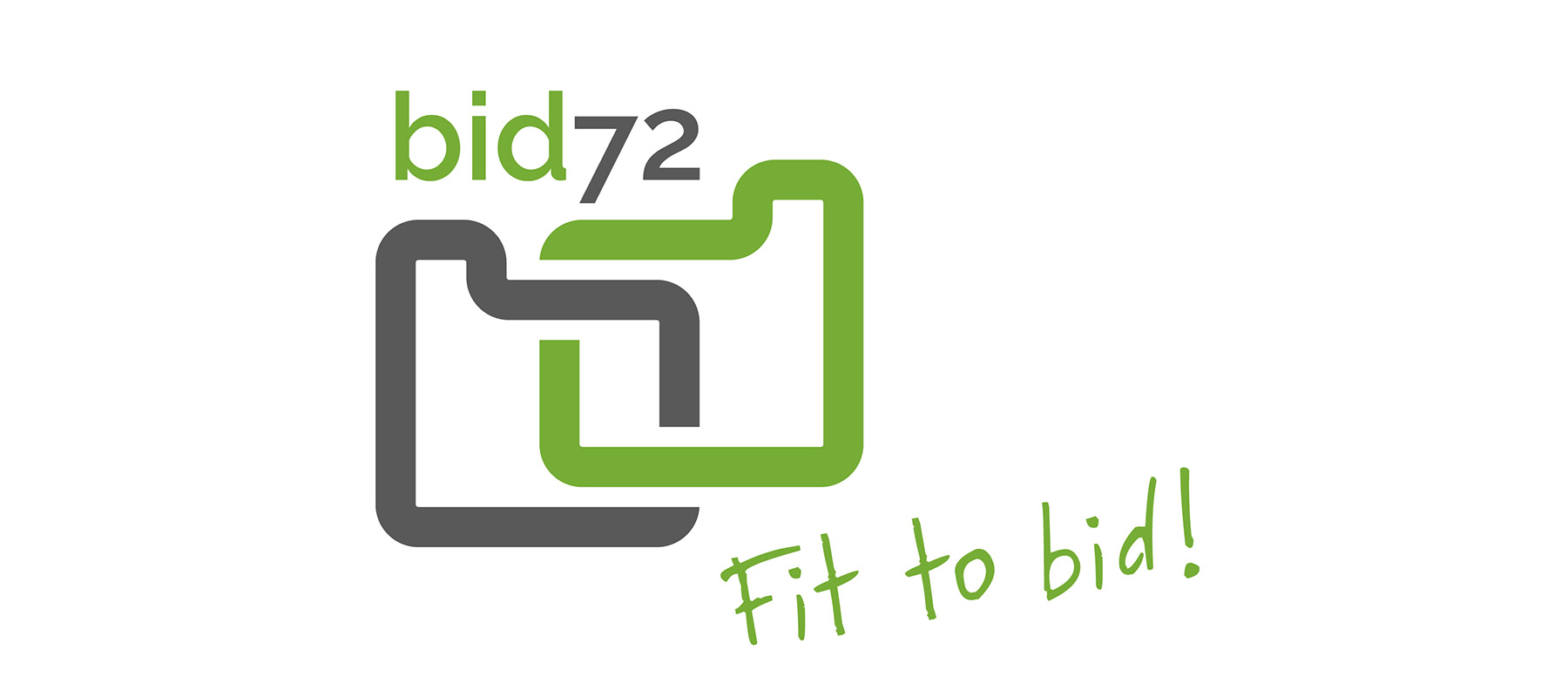 het logo van bid72: twee gestileerde gespiegelde vormen, één groen, één grijs, die biedkaarten voorstellen en te lezen zijn als het woord 'bid'