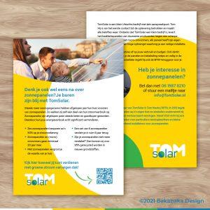 TomSolar flyer: een onderdeel van de huisstijl voor klantwerving
