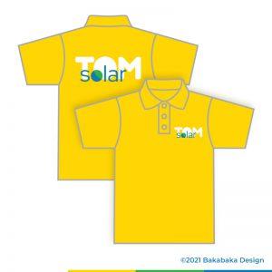 Werktekening voor TomSolar huisstijl: polo's in een zonnige gele kleur met het logo op rug en borst